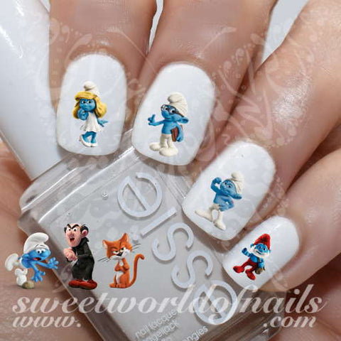 Smurfs Nail Art Nail Water Decals Slides