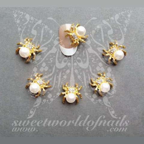 3D Pearl Gold Metal Rhinestone Spider-Spider Cabochon