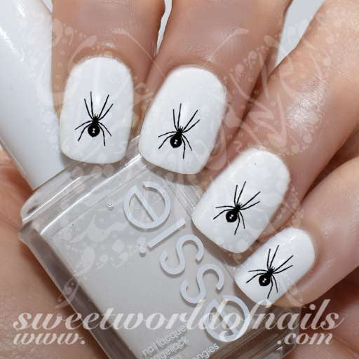- Spider Nail Art Black Widow Nail Water Decals Slides