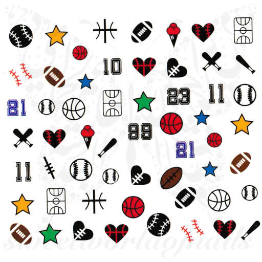 Baseball Football Nails Ball Bat Nail Water Decals