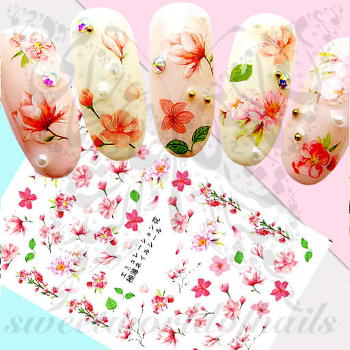 Spring Nail Art Pink Flowers Stickers