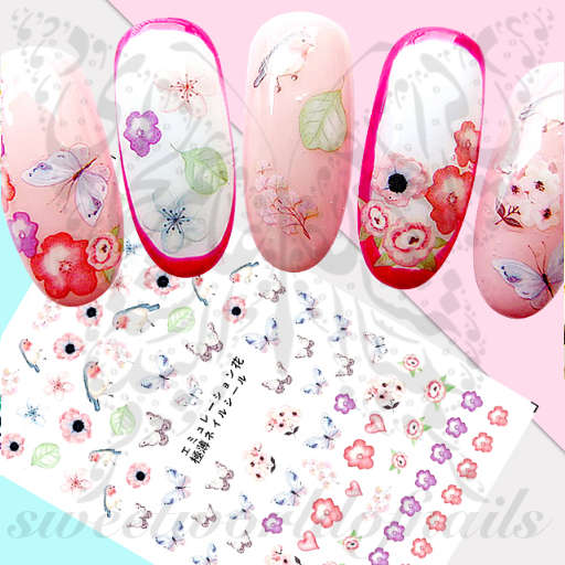 Spring Nail Art Flowers and Butterflies Nail Stickers