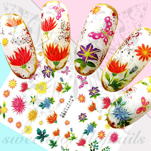 Spring Summer Flowers Nail Art Stickers