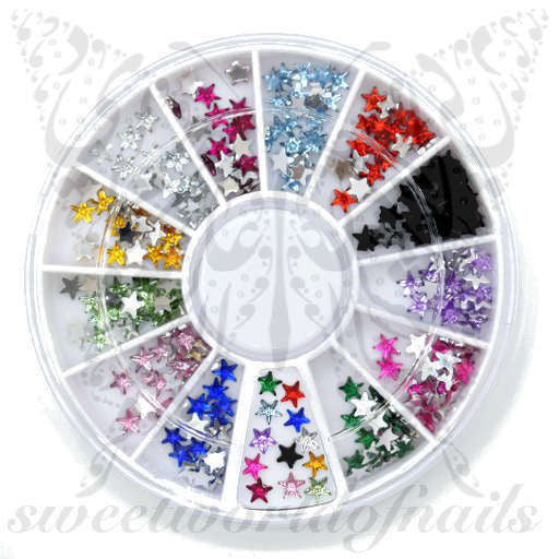 Star 3D Nail Rhinestones Charms Wheel-12 Colors