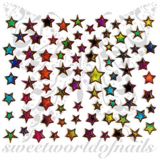 Star Nail Art Colorful Gold Nail Stickers