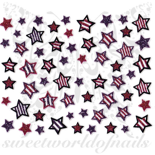 Star Nail Art Glittery Nail Stickers