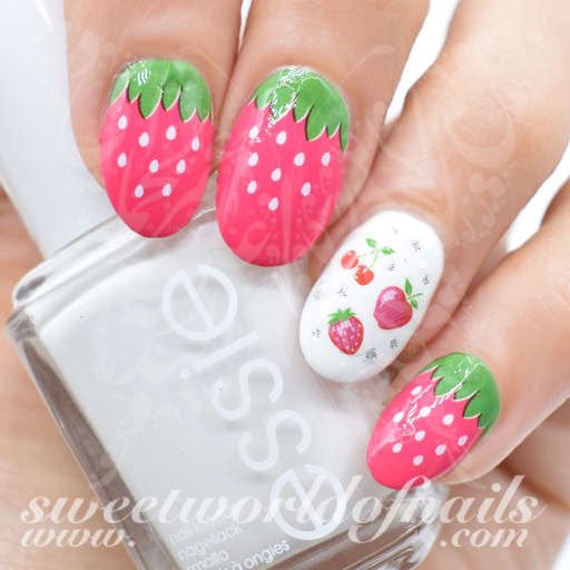 - Strawberry Nail Art Nail Water Decals Wraps