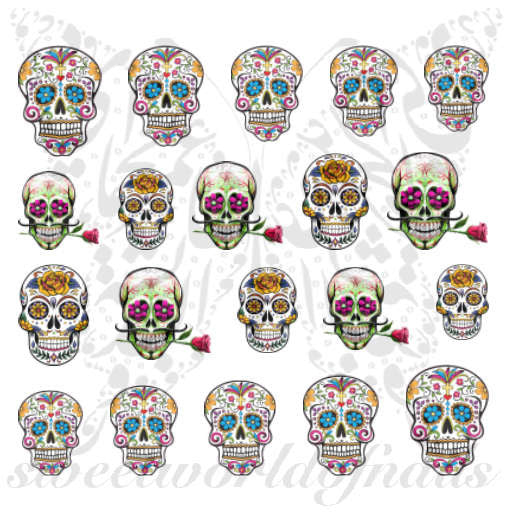 Sugar Skulls Nail Art Nail Water Decals Water Slides Set 1