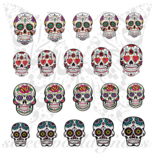 Sugar Skulls Nail Art Nail Water Decals Slides Set 2