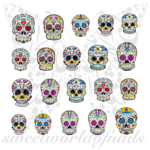 Sugar Skulls Nail Art Nail Water Decals Slides Set 3