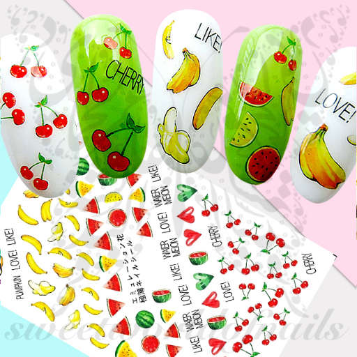 Summer Fruit Nails Watermelon Banana Cherries Stickers