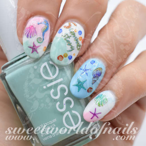 - Summer Nail Art Seahorse Starfish Beach Nail Water Decals Slides