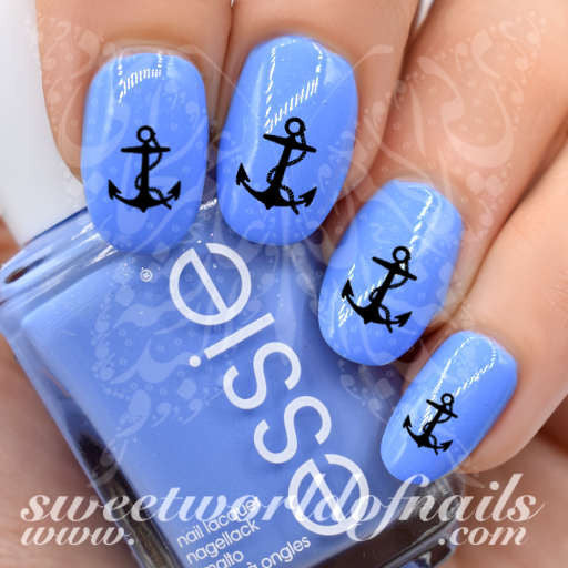 Summer Nail Art Black Anchor Nail Water Decals Transfers Wraps