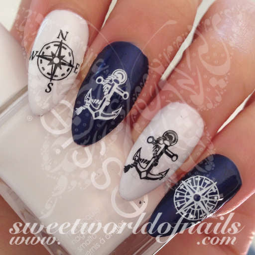 Nail art compass anchor nail water decals water slides summer nail art compass anchor nail water decals water slides prinsesfo Gallery