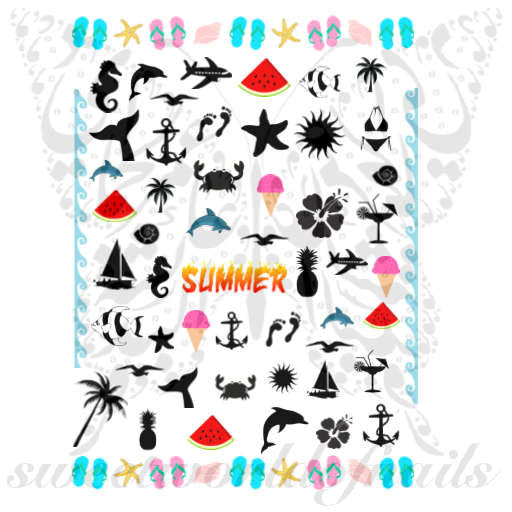 Summer Nail Art Summer Collection Nail Water Decals Transfers Wraps