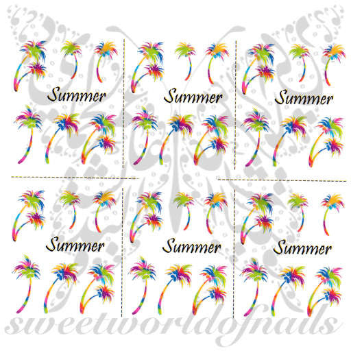 Summer Nail Art Colorful Palm Trees Nail Water Decals Slides