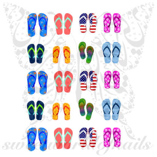 Flip Flops Nail Art Nail Water Decals Water Slides