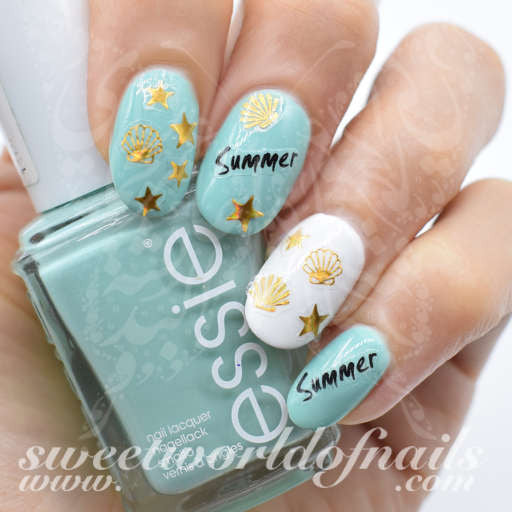 Summer Nail Art Gold Shells Stars Nail Water Decals