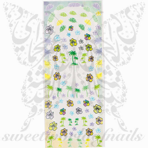 Summer Nail Art Palm Trees Flowers Water Decals Wraps