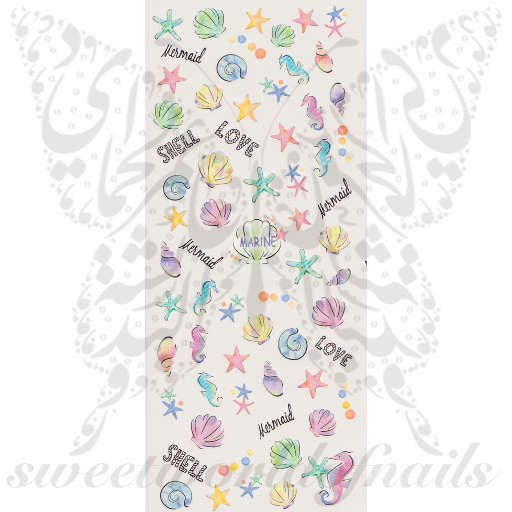 Summer Nail Art Seahorse Starfish Shells water Decals Wraps