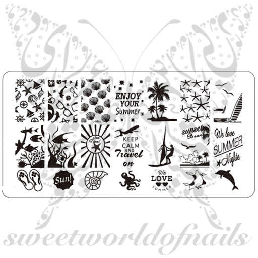 Summer Nail Art Stamping Plate Collection