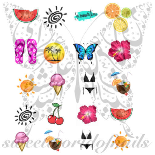 Summer Nail Art Assortment Vacation Beach Sun Ice cream Bikini Watermelon Cherry Summer time Nail Water Decals
