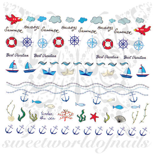 Summer Nails Anchors and boats Water Decals