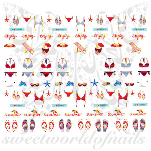 Summer Nails Bikini Water Decals