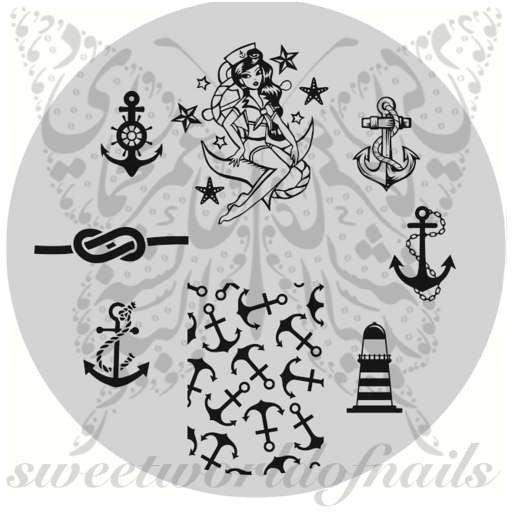 Summer Nail Art Nautical Stamping Plate