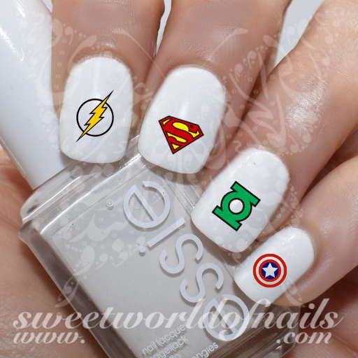 - Superhero Nail Art Logos Comic Books Nail Water Decals Wraps