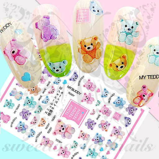 Teddy Bear Nail Art Nail Stickers