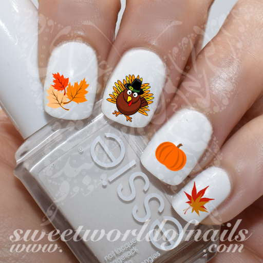 Thanksgiving Nail Art Autumn Leaves Turkey Pumpkin Nail Water Decals Water Slides