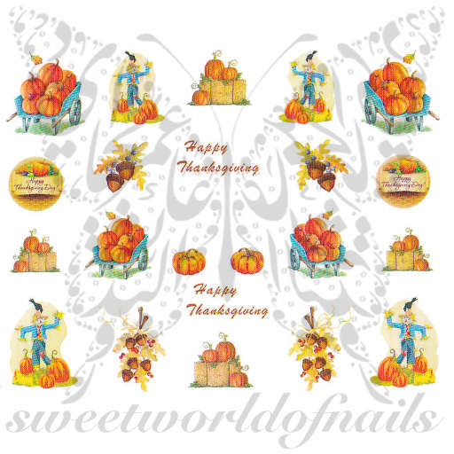Happy Thanksgiving Nail Art Pumpkins Acorns and Scarecrow Water Decals