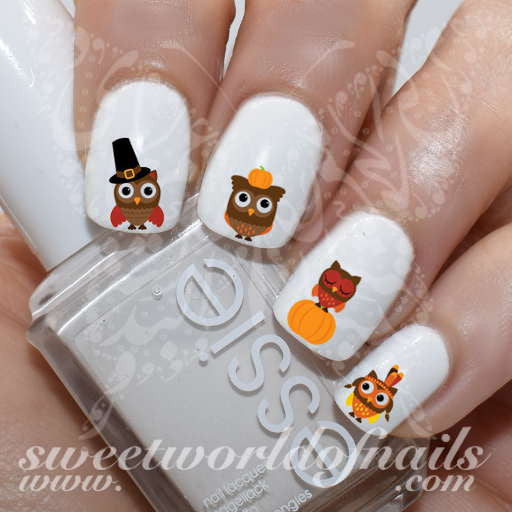 Thanksgiving Owls Nail Art Fall Water Decals Transfers Wraps
