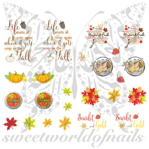 Thanksgiving Nail Art Running Turkey Nail Water Decals
