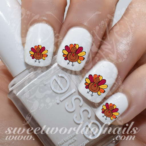Nail art turkey nail water slides thanksgiving nail art turkey nail water slides prinsesfo Choice Image