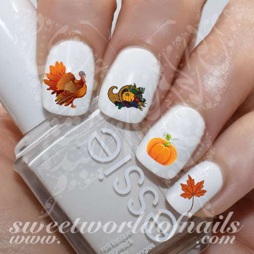 Thanksgiving Nail Art Water Decals