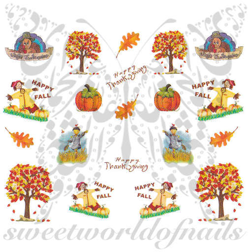 Thanksgiving Nail Art Scarecrow Turkey Nail Water Decals