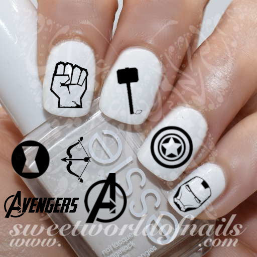 Avengers Nails Marvel Nail Art Nail Water Decals