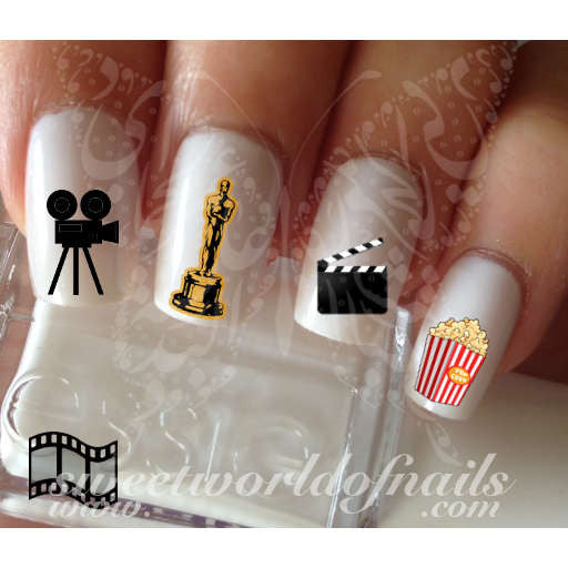 The Oscars Nail Art Water Decals Movie Camera Popcorn Film Oscars Statue