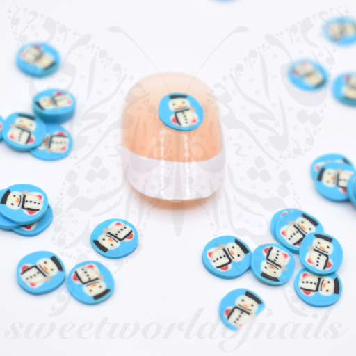 Tiny Christmas Snowman polymer clay cane Fimo slices Nail Art