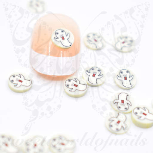 Tiny Halloween Ghost polymer clay cane Fimo slices Nail Art