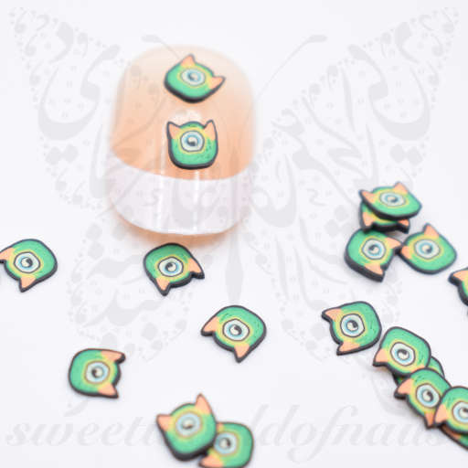 Tiny Halloween Monster polymer clay cane Fimo slices Nail Art