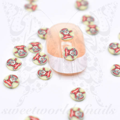 Tiny Christmas Santa polymer clay cane Fimo slices Nail Art