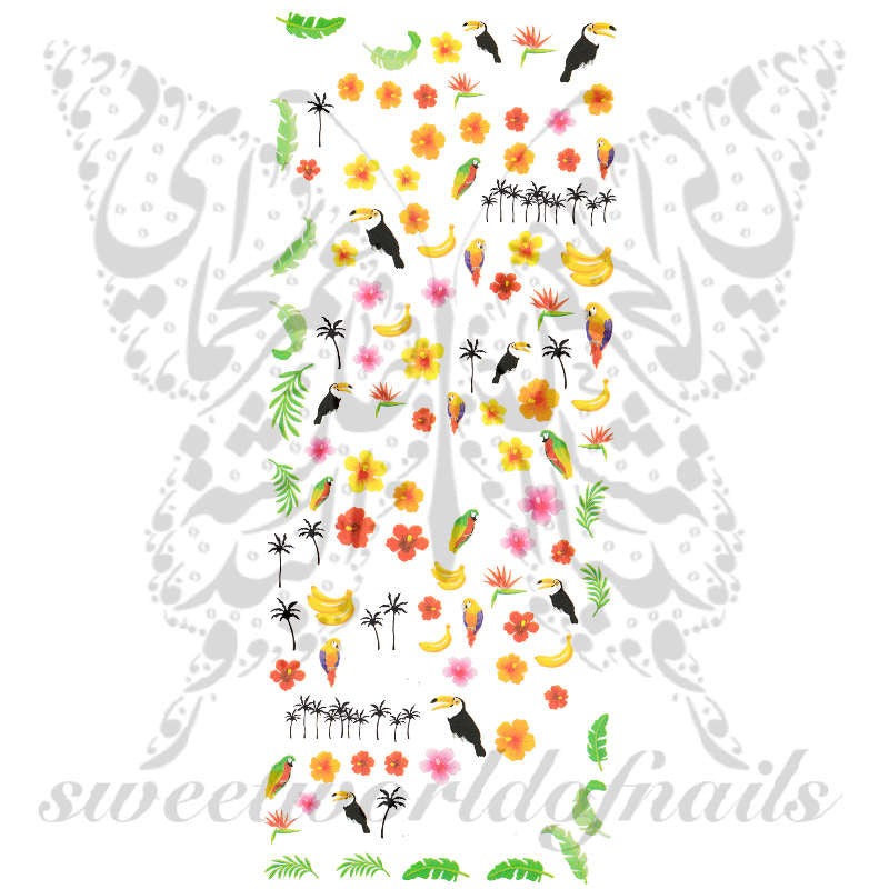 Tropical Nail Art Collection Nail Water Decals Slides