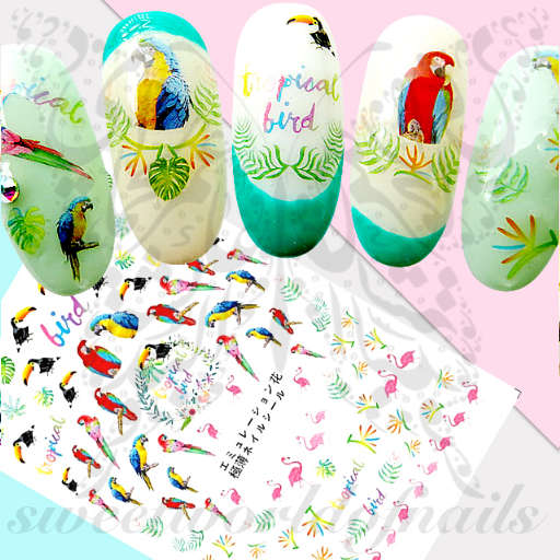 Tropical Nail Art Parrot Flamingo Stickers
