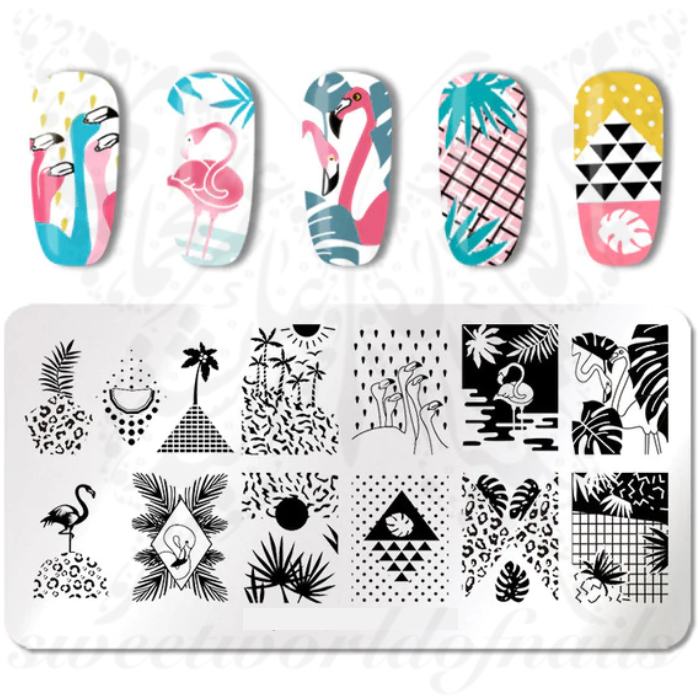 Tropical Summer Nail Art Stamping Plate