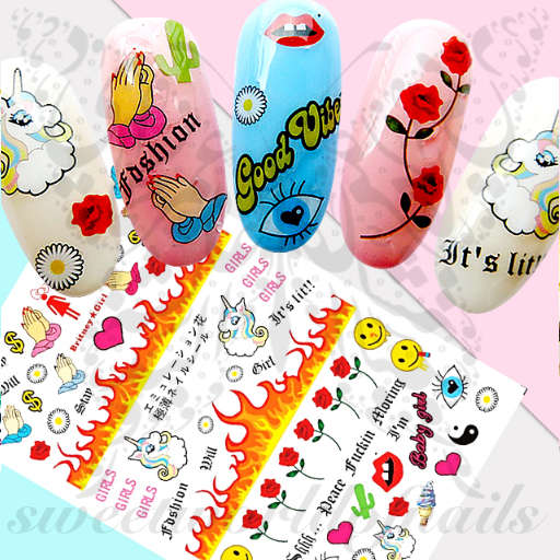 Unicorn Girly Nail Stickers