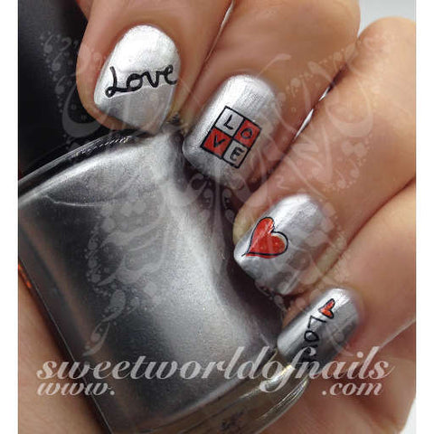 Love Word Red Heart Valentine's day Nails Water Decals Transfers