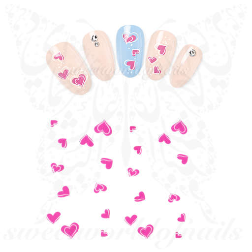 Valentine's Day Nails Pink white Hearts Decals